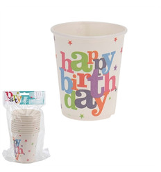 "Bekertjes ""Happy Birthday"" 250ml (10st.)"
