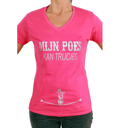 """Toppers 2018 Shirt Dames """"Mijn Poes Kan Trucjes"""""""